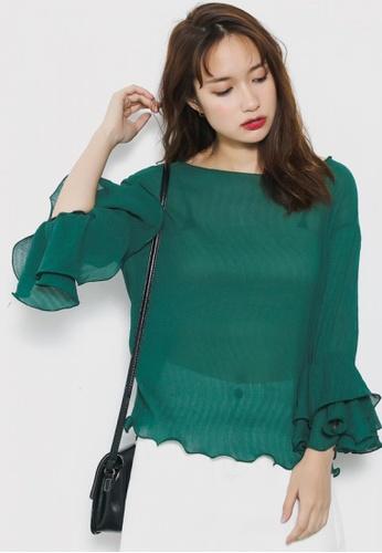 Shopsfashion green Textured Blouse in Green SH656AA11YQMSG_1