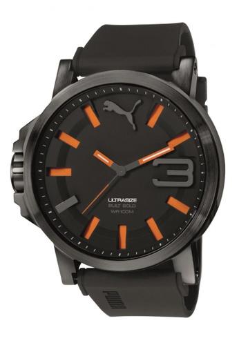 Puma black Puma Ultrasize 50 Black/Orange Silicon Rubber Watch PU440AC74CWBSG_1