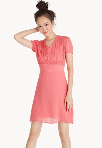 Pomelo pink Mini Ruched V Neck Dress - Pink D274DAA14F7827GS_1