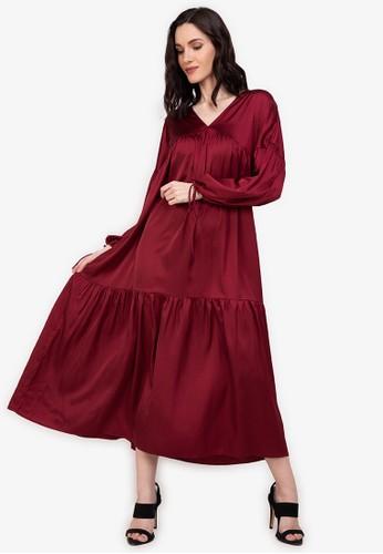 ZALORA BASICS red Satin Maxi Dress 9A9B2AA7DD6B74GS_1
