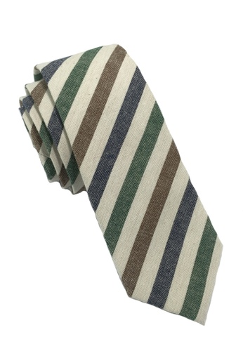 Splice Cufflinks Passe Series Blue Brown Green & White Stripes Cotton Tie SP744AC32LOPSG_1