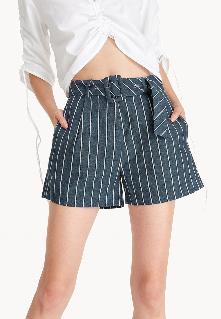 Linen Pomelo Belted A Striped Navy Navy Shorts Line ZHnPUxwHzq