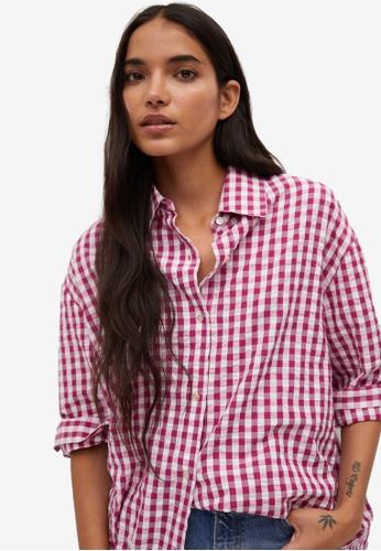 Mango pink Oversize Check Shirt E06C7AA6BDA289GS_1