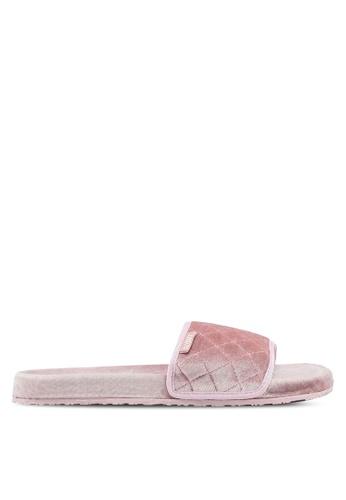 Slydes 粉紅色 菱格紋絲絨拖鞋 A4804SH92F7DDEGS_1