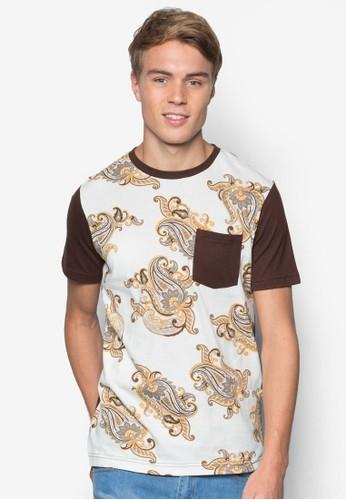 口袋拼接短袖TEE, 服飾, 印esprit outlet 台中圖T恤