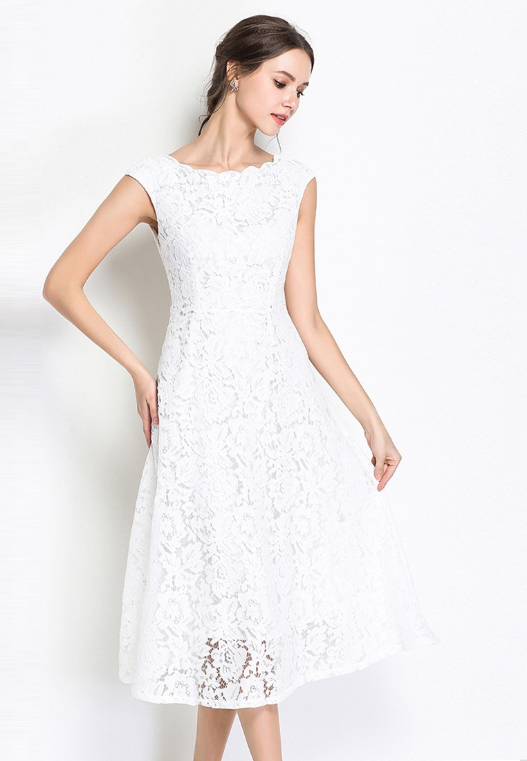 Sleeve white Piece Short Lace Sunnydaysweety 2018 A060417W Sweetheart Wave White Dress One collar New YUqzOwSz0