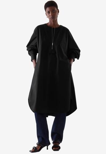 Cos black Oversized A-Line Shirt Dress 43D85AA0358592GS_1