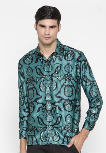 Waskito Kemeja Batik Semi Sutera - KB LE 860511 - Turquoise