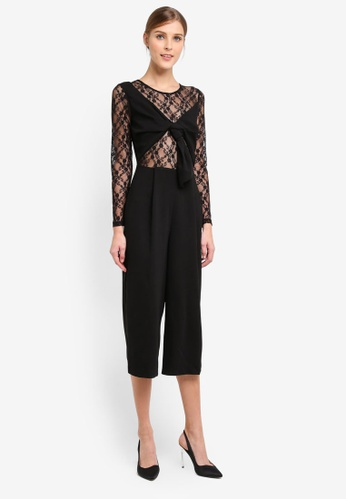 Miss Selfridge black Black Lace Mix Jumpsuit MI665AA0STCKMY_1