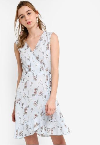 Something Borrowed 藍色 Sleeveless Ruffled Wrap Dress B68D2AA797483BGS_1