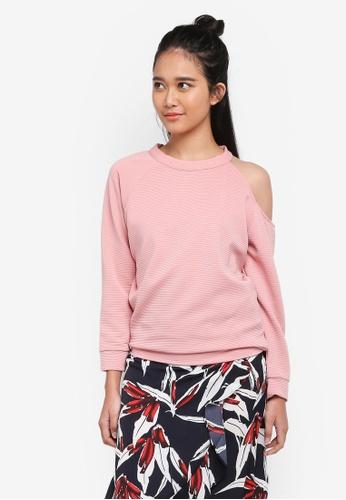 Penshoppe pink Textured Knit Pullover 9698AAAA2A268DGS_1