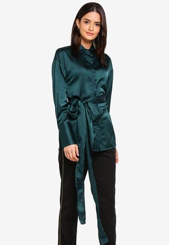 Zalia green Front Tie Shirt 9EC6DAAFBEDA73GS_1
