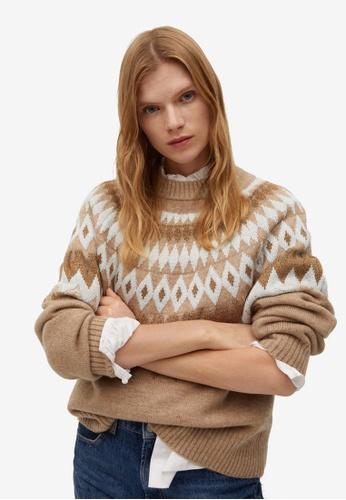 Mango brown Mango Geometric Sweater 347DDAAF80FAFEGS_1
