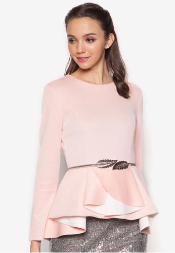 Pleated Colourblock Peplum Top, 服飾, 上esprit手錶專櫃衣