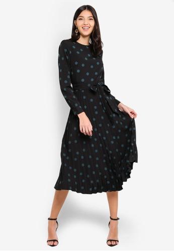 51ce2596da Buy WAREHOUSE Mixed Spot Pleated Dress Online on ZALORA Singapore