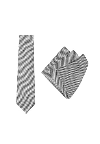 Buckle black and white Tie Vintage with Pocket Square E5AD2ACCA686E5GS_1