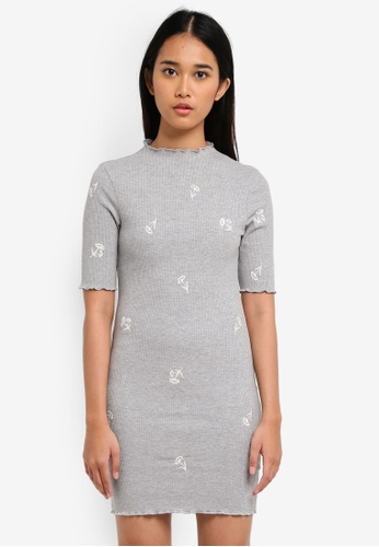 TOPSHOP grey Embroidered Floral Bodycon Dress 104EFAA38207C0GS_1