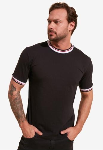 Trendyol black Striped Trim T-Shirt 1DDAFAA82A5DA4GS_1