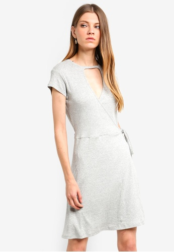 Brave Soul grey Rib Wrap Over Dress A669AAAA478879GS_1