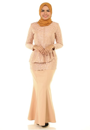 Rosa Kurung With Layered Pleated from Ashura in Beige