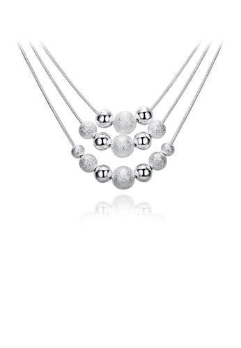 Glamorousky silver Fashion Multilayer Ball Bead Necklace B7B0BAC1F423AEGS_1