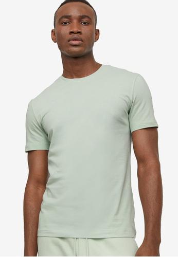 H&M green Round-Necked T-Shirt Slim Fit 2D2CFAA1B700C8GS_1