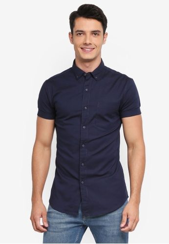 Topman navy Navy Muscle Fit Oxford Shirt 3DEF2AA3F5EFAAGS_1