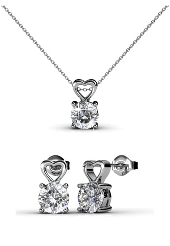 Her Jewellery silver Swarovski® Crystals - Sweet Love Set (18K White Gold Plated) Her Jewellery HE581AC0RAFMMY_1