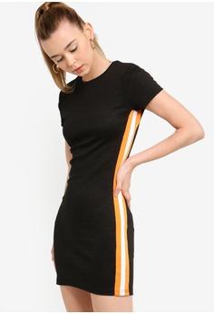 ae63e63b0d8 Something Borrowed black Striped Trim Bodycon Dress C821DAA394B026GS_1