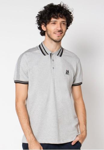 Grey Striped Collar 02 Polo