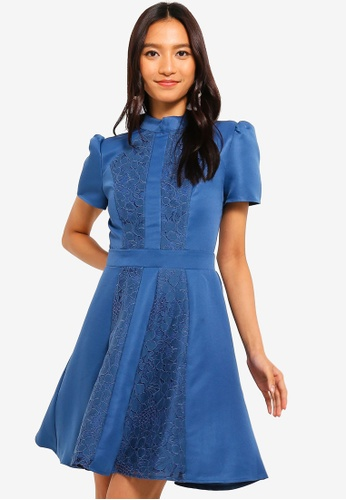 Little Mistress blue Denim Lace Skater Dress 1EEFAAA6E341FDGS_1