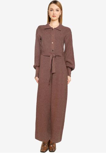Mango brown Belt Knitted Jumpsuit C2E32AAC88D459GS_1