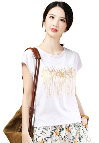 A-IN GIRLS white Loose Round Neck Short Sleeve T-Shirt 84E65AA3440FB4GS_1