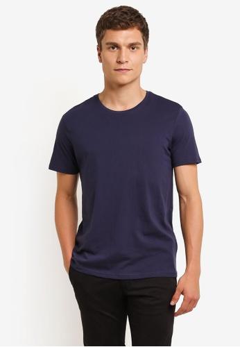 Burton Menswear London 海軍藍色 Navy Basic Crew Neck T-Shirt BU964AA0ROB4MY_1
