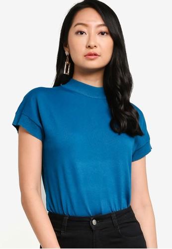 ZALORA BASICS blue High Neck Short Sleeves Sweater EFE24AAD3D1E47GS_1
