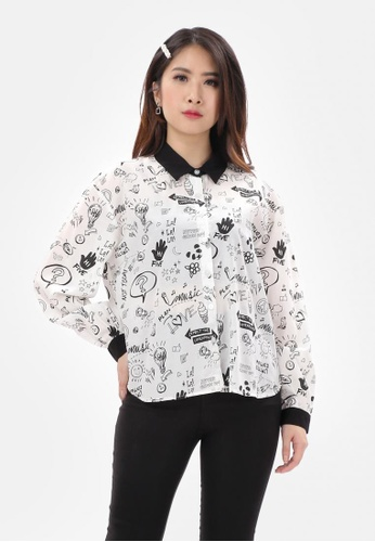 MKY Clothing white MKY Doodle Art Shirt in White A2C0CAA66F7F2BGS_1