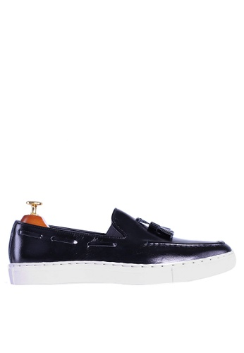 Zeve Shoes black Zeve Shoes Tassel Sneakers - Black Leather 4B9F7SH420FDD0GS_1