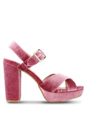 Something Borrowed pink Velvet Platform Block Heels 1DD0BSHFE56252GS_1