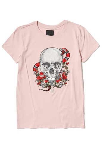 MUSIUM DIV pink Skull and roses embroidered logo T-shirt 1A063AAEBE9C4BGS_1