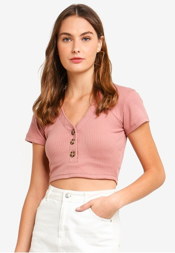 MISSGUIDED pink Horn Button Ribbed Crop Top 09D42AAE435179GS_1