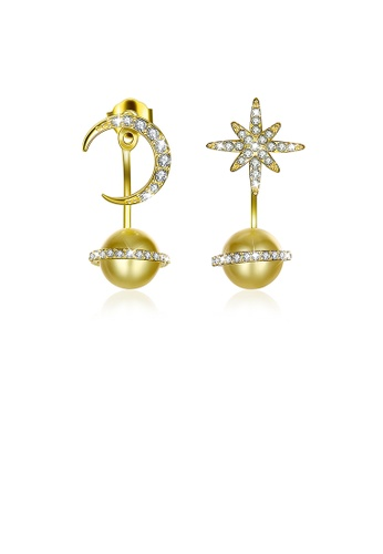 Glamorousky gold 925 Sterling Silver Fashion Sparkling Starry Sky Stars and Moon Planet Earrings with Golden Pearl and Austrian Element Crystal E59F4AC57D1D18GS_1