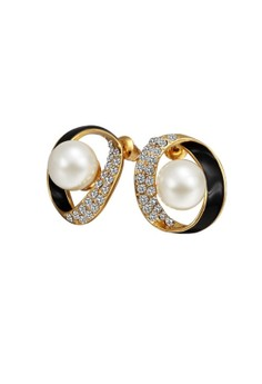 Treasure by B&D E623 Twisted Circle Stud Earrings Czech & Artificial Pearls Inlay