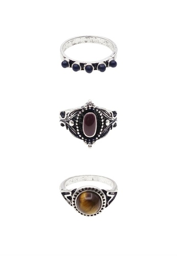 LUCCACAL black 3 x Remia Stoned Ring Set LU294AC0RESRMY_1