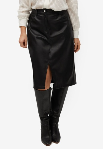 Violeta by MANGO black Plus Size Cut-Out Faux-Leather Skirt 330E2AA4768F6AGS_1