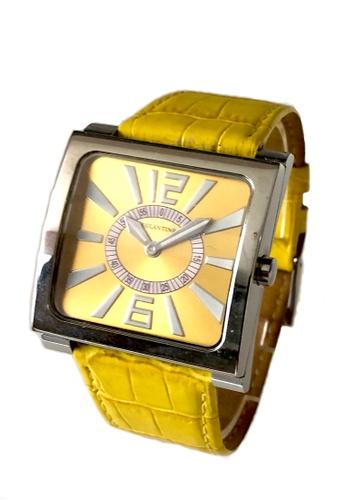 EGLANTINE silver EGLANTINE® Paris Square Unisex Steel Quartz Watch Navy Yellow Dial and Leather Strap 6278EAC2C5C21BGS_1