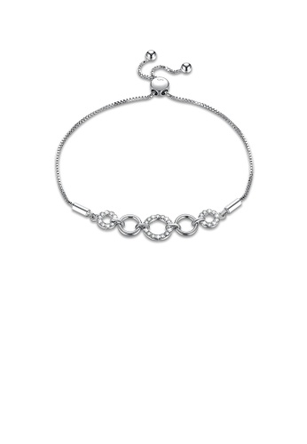Glamorousky white 925 Sterling Silver Simple Ring Bracelet with Austrian Element Crystal 29FEFAC98735F1GS_1