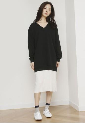 韓式風格esprit outlet台北褶飾下擺恤衫連身裙, 服飾, 洋裝