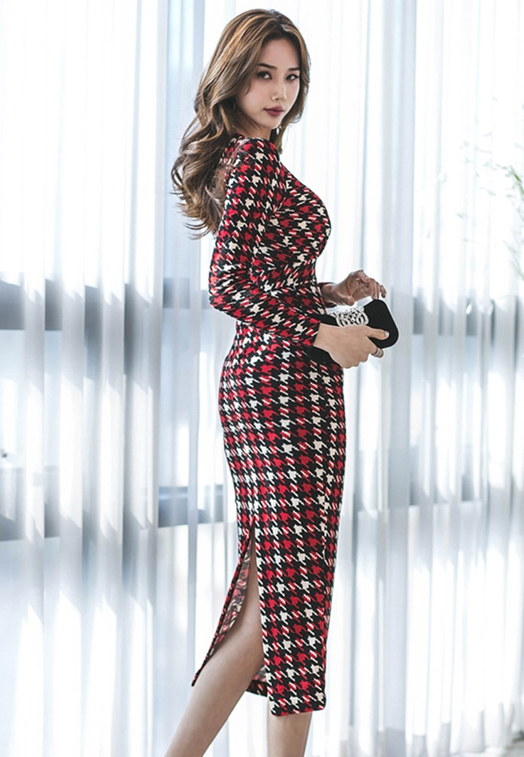 Piece Multi and Wrapped Neck Checked Houndstooth Sunnydaysweety CA011701 Dress V One 2018 6wxqTU6