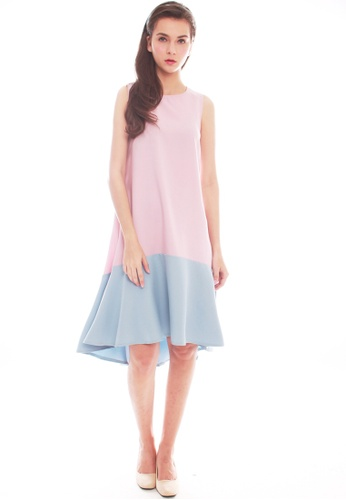 JOVET pink Color Block Midi Dress 94931AA3E68C7BGS_1