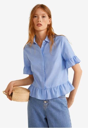 Mango blue Ruffled Cotton Shirt 49D9AAA3792B81GS_1